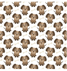 seamless pattern with funny dogs and bones vector image