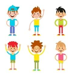 Set cute happy cartoon boys characters childhood vector image