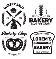 set of bakery badges with pastry icons and design vector image vector image