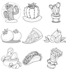 set of icons on a mexican theme mexican food and vector image vector image