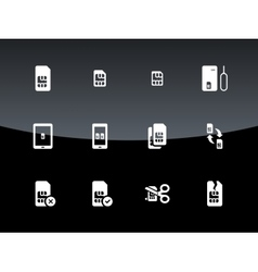 SIM cards mini micro nano icons on black vector image vector image