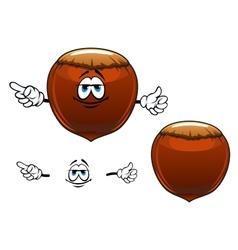 Smiling hazelnut fruit cartoon character vector