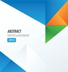 template triangle green orange blue vector image vector image