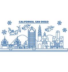 usa california san diego winter city skyline vector image