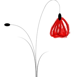 Artistic poppy flower vector