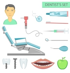 Flat color teeth care concept square compositionof vector image