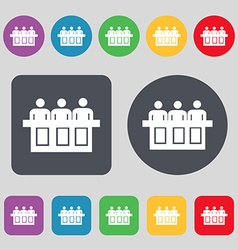 Conference icon sign A set of 12 colored buttons vector image
