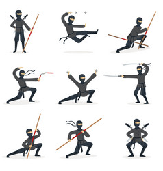 Japanese ninja assassin in full black costume vector