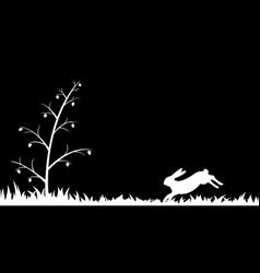 Silhouette of hare in the grass vector