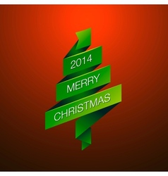 Merry christmas with fur-tree on red background vector
