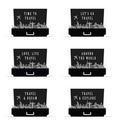 Travel icon set in bag paradise in black color vector