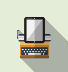 Flat icon of typewriter combine tablet vector
