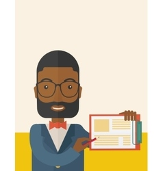 Handsome black guy holding clipboard vector