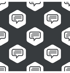 Black hexagon text message pattern vector