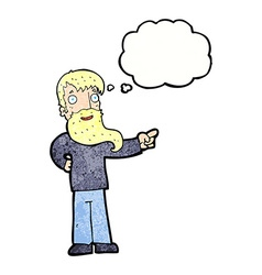 Cartoon man with beard pointing with thought vector