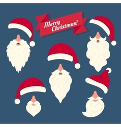 Christmas clothes collection of santas hats with vector