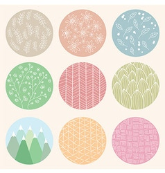 Colorful circles with flower and line patterns vector