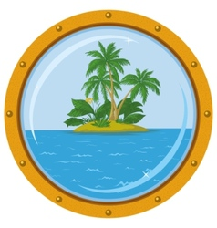 Island with palm and bronze ship window vector