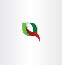 Q letter logo red green icon vector