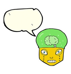 Cartoon spooky robot head with speech bubble vector