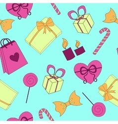 Seamless Happy birthday elements colorful pattern vector image