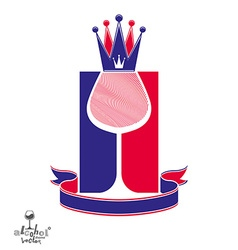 Royal decorative symbol with monarch crown and win vector