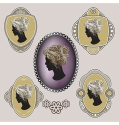 Cameo ornate labels with female profile vector
