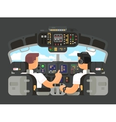 Pilots in cockpit flat design vector