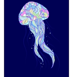 Colorful jellyfish on blue background vector