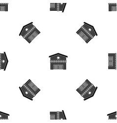 Barn for animals pattern seamless black vector