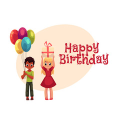 black boy with balloons and blond girl holding vector image vector image