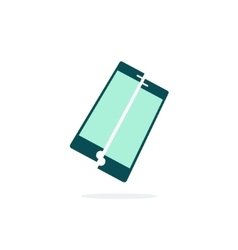 Broken mobile phone icon crushed vector
