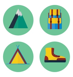 Camping and hiking flat icon set vector
