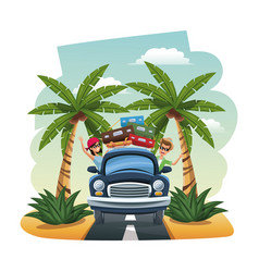 Cartoon happy couple vintage car suitcases on the vector