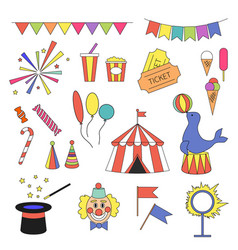 circus icon set with circus equipment vector image vector image