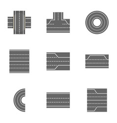 City roads icons set cartoon style vector