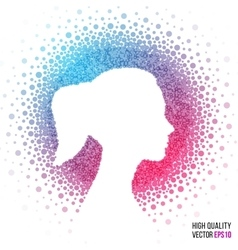 Female head silhouette design for greeting card vector image