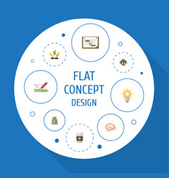 flat icons design mind help and other vector image vector image