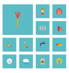 Flat icons lamb bulldozer cultivator and other vector