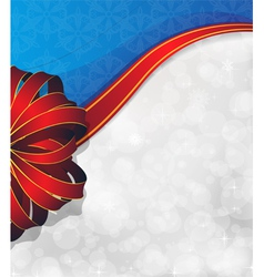 Greeting card with red bow and ribbon vector
