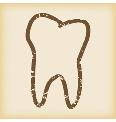 Grungy tooth icon vector