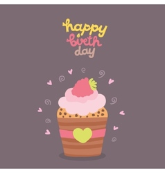 Happy Birthday card background with cupcake vector image vector image