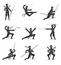 Japanese ninja assassin in full black costume vector