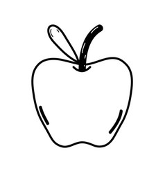 Line delicious apple fruit with leaf vector