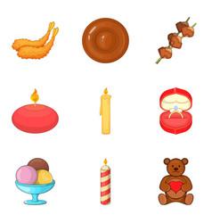 make a wish icons set cartoon style vector image vector image