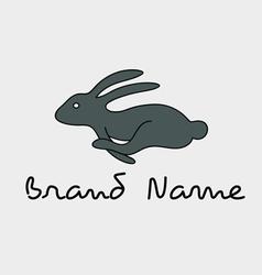 Rabbit running logo vector image
