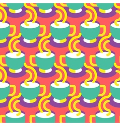 Seamless coffee cup pattern vector image vector image