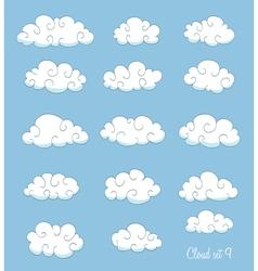set of cute cartoon clouds vector image vector image