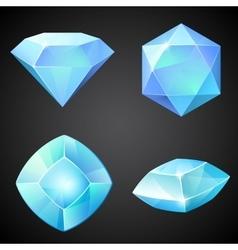 Set of lightblue gemstones vector