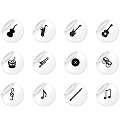 Stickers with musical icons vector image